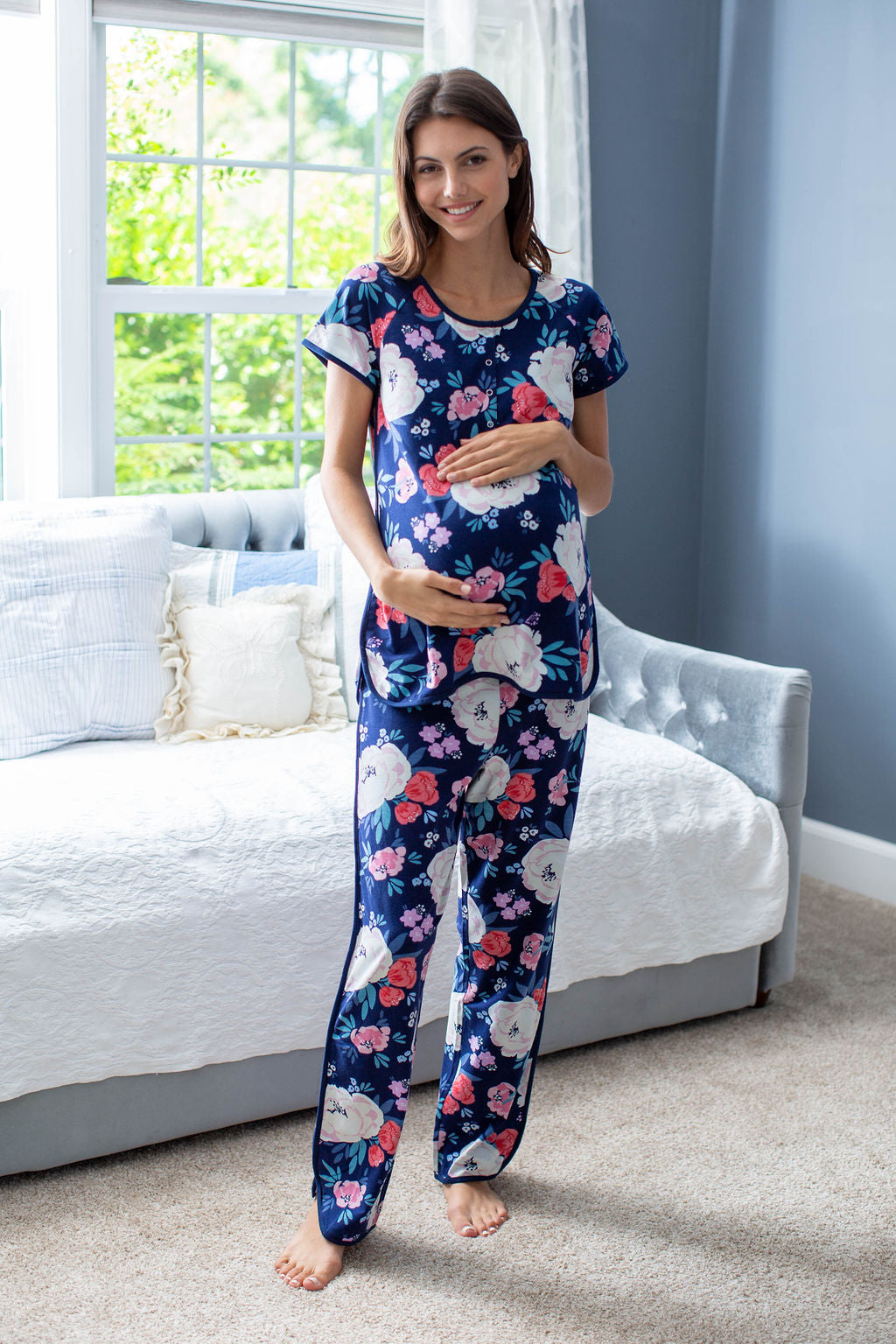 Pick your print! Annabelle is a lovely cream and rose flowered print against a deep, blue background. Maternity and postpartum pajamas for mom to match with the entire family. Shop by print to find a piece for each family member!