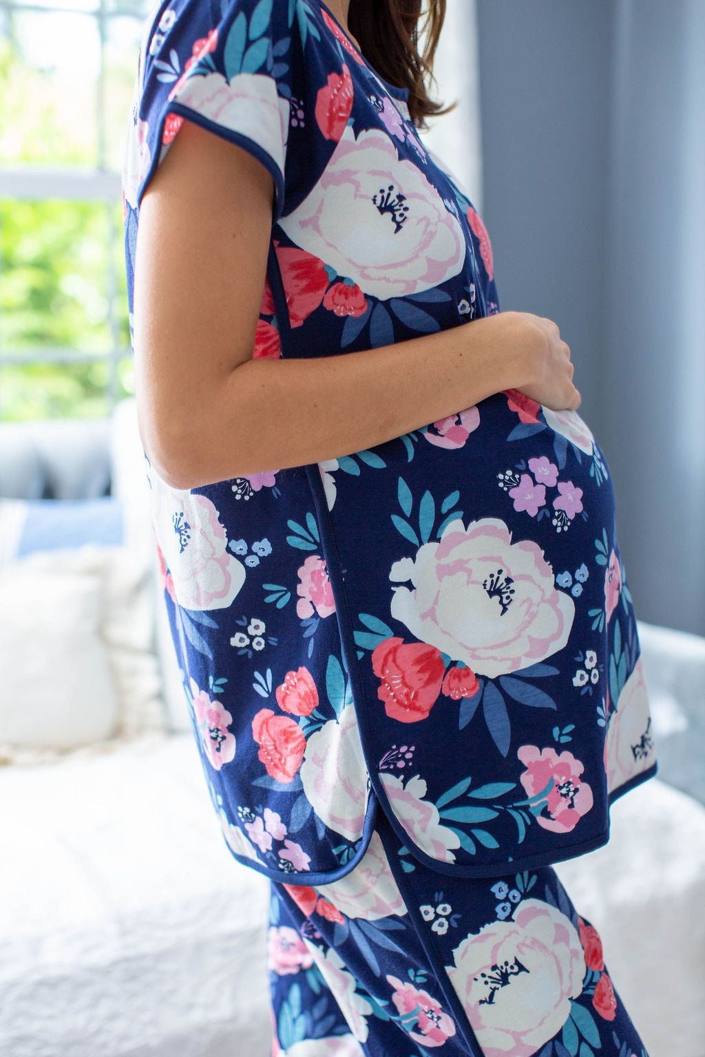Match with the whole family. Maternity photoshoot ready. Navy trim, cream flowers, blue floral pattern. Annabelle is the perfect print!