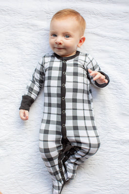 Black Gingham One Piece Footed Baby Romper