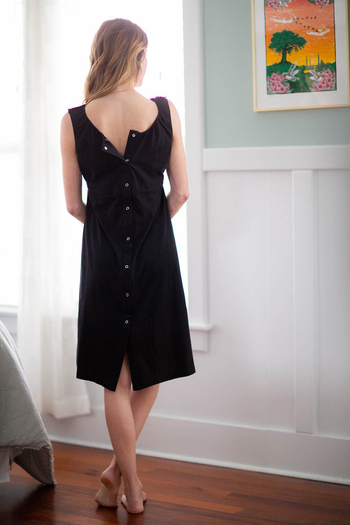 Black Gingham Delivery Robe and Black 3 in 1 Labor Gown Set