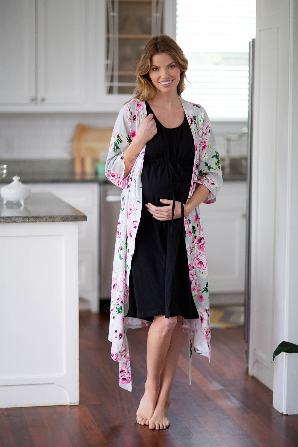 Olivia Robe & Black Labor Gown
