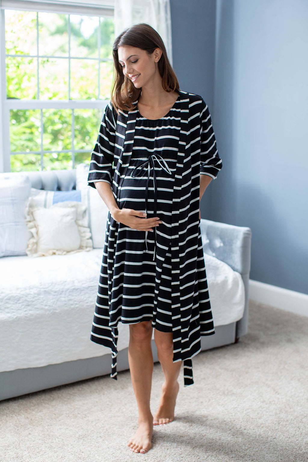 Black Striped Delivery Robe & Matching 3 in 1 Labor Gown Set