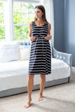 Black Striped 3 in 1 Labor Gown
