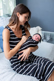 Black Striped Labor Gown & Matching Swaddle Blanket Set
