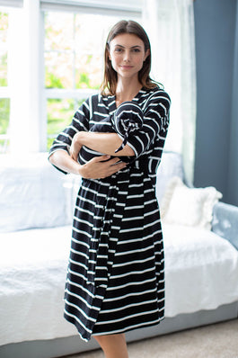 Black Stripe Delivery Robe & Swaddle Blanket Set