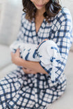 Blue gingham robe with Whale printed baby swaddle and baby hat. Perfect for Mom and baby boy.