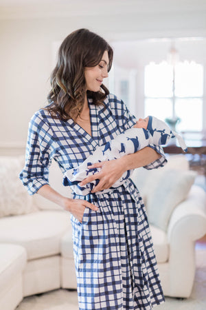 Blue gingham robe with Whale printed baby swaddle. Perfect for Mom and baby boy.