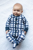 Blue Gingham One Piece Footed Baby Romper