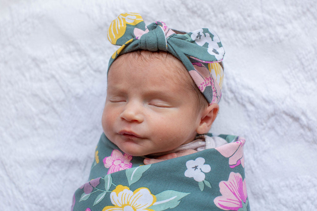 Charlotte Swaddle Blanket and Headband Set