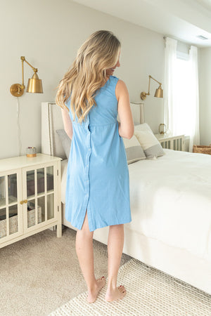 Sky Blue 3 in 1 Maternity Labor & Delivery Nursing Gown