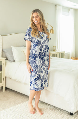 Serra Navy Blue / White Endless Housedress