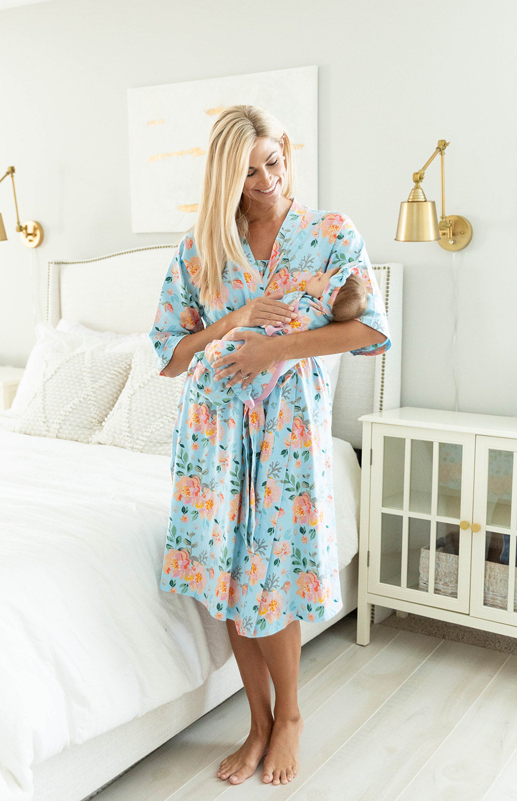 Jade Robe & Baby Girl Swaddle Blanket Set