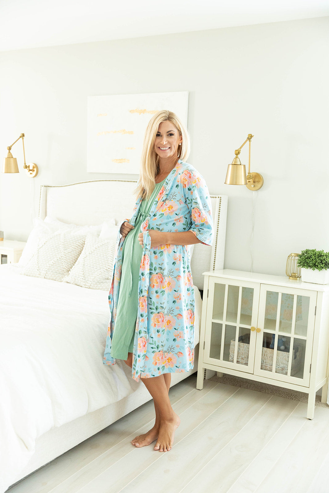 Jade Robe & Sage Green 3 in 1 Labor Gown Set