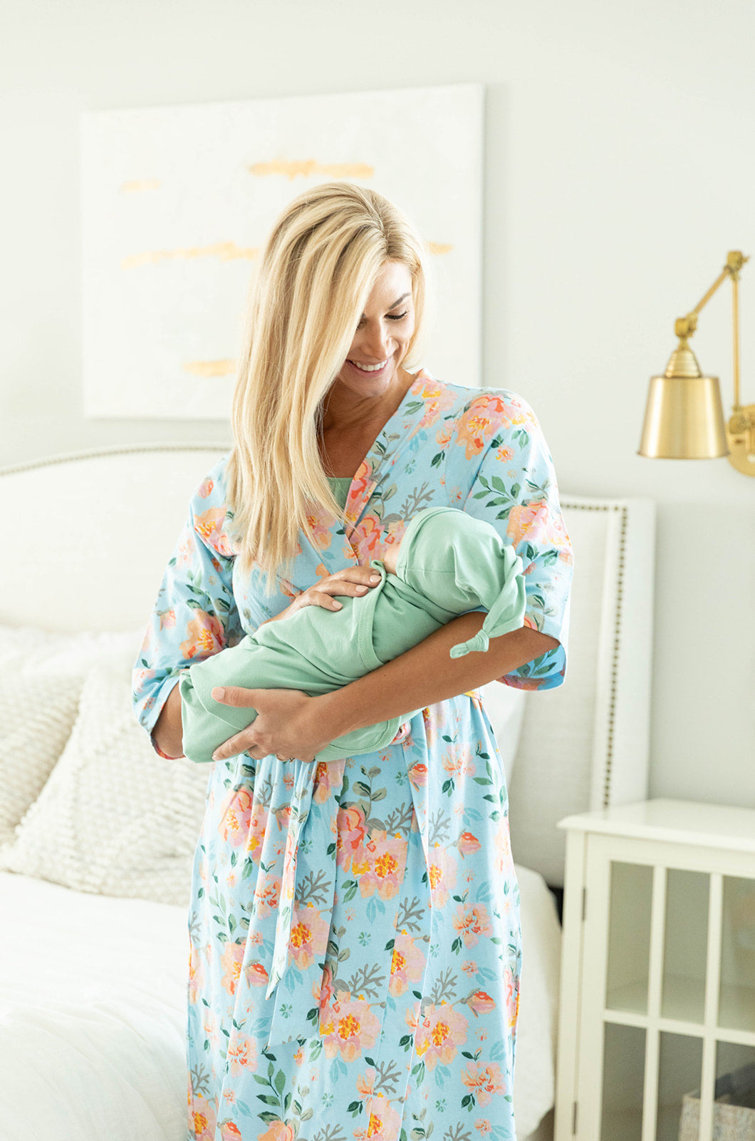Jade Robe & Sage Green Swaddle Blanket Set