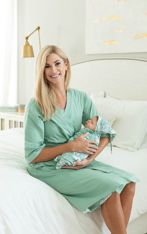 Sage Green Robe & Marie Baby Swaddle Blanket Set