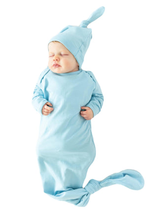 Light Blue Knotted Baby Gown & Matching Hat