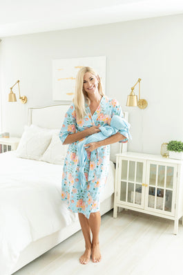 Jade Robe & Baby Boy Light Blue Knotted Gown Set