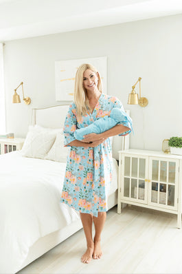 Jade Robe & Light Blue Swaddle Blanket Set
