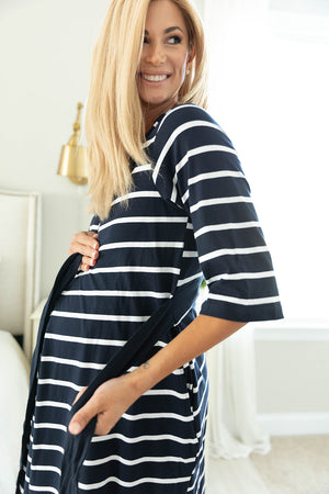 Navy Stripe Robe & 2 in 1 Maternity Nursing Nightgown