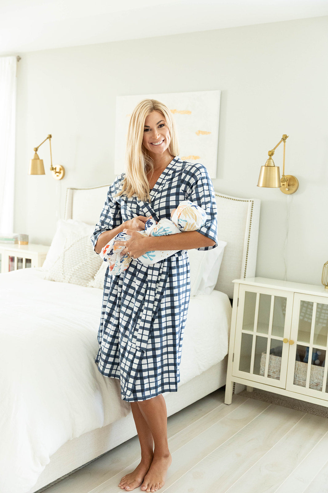 Blue Gingham Robe & Under The Sea Baby Gown Set