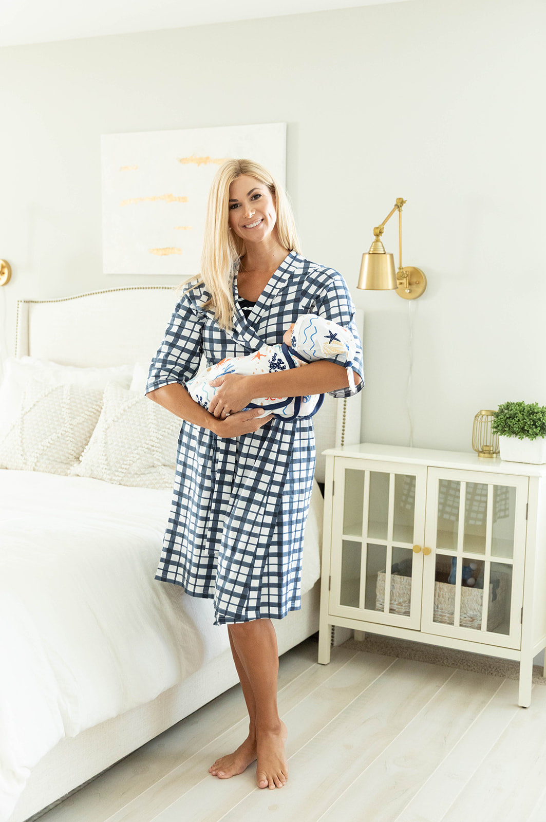 Blue Gingham Robe & Under The Sea Baby Boy Swaddle Blanket Set