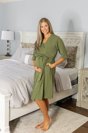 Olive Delivery Robe & Hadley Swaddle Blanket Set