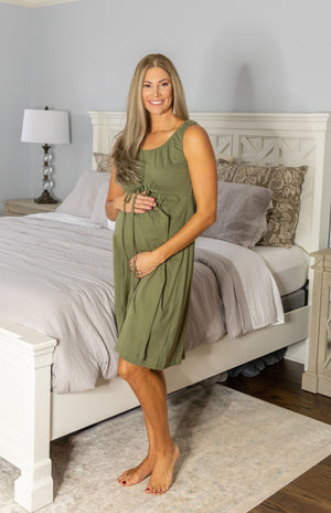 Hadley Robe & Olive Labor Gown