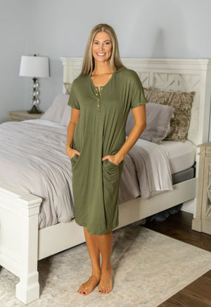 Olive lounge dress with gold snaps for easy breast feeding. Olive is the new trendy color. Match with baby in Olive garments.