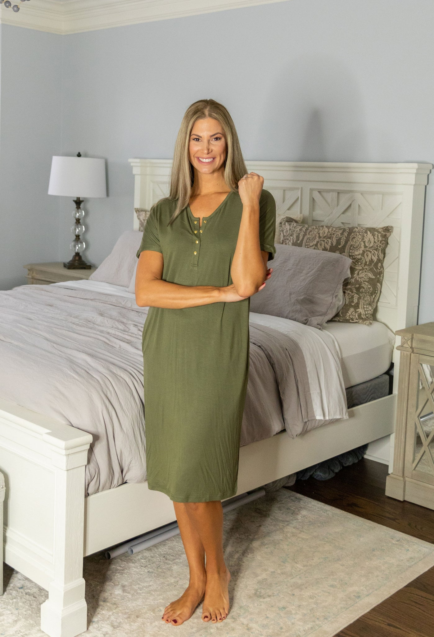 Olive Green Endless Mama Every Day Lounge Dress