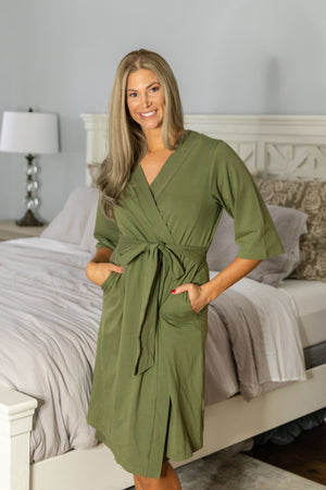 Olive Green Robe & Baby Swaddle Blanket Set