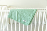 Charlotte Delivery Robe & Sage Green Swaddle Blanket Set