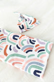 Navy Blue Delivery Robe & Matching Rainbow Baby Swaddle Blanket Set