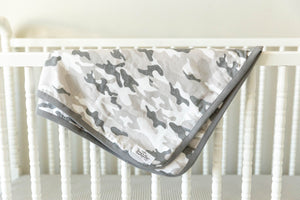 Camo Maternity Nursing Pajamas & Baby Swaddle Blanket Set