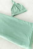 Marie Delivery Robe & Sage Green Baby Swaddle Blanket Set