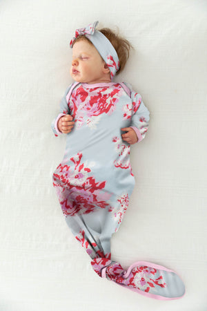 Mae Knotted Baby Gown & Matching Newborn Headband
