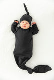 Black Knotted Baby Gown & Matching Hat