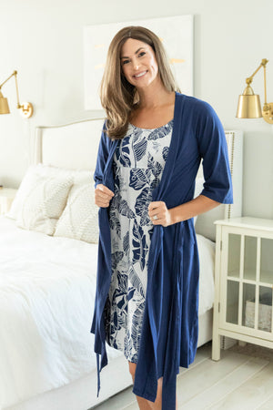 Serra Maternity Nursing Nightgown & Navy Blue Delivery Robe