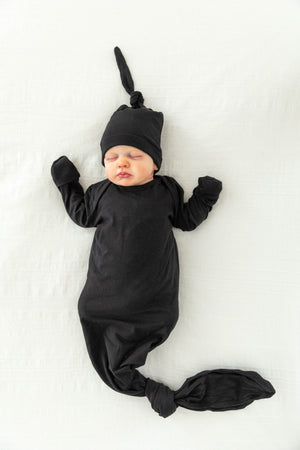 Ivy Robe & Black Knotted Baby Gown Set