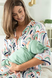 Rainbow maternity robe with sage, blue, pink, purple, and red rainbow colors. Matching Sage swaddle for mommy & me photography.