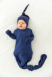 Navy Blue Knotted Baby Gown & Matching Hat