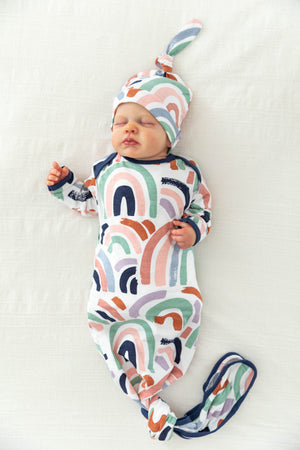 Rainbow Knotted Baby Gown & Newborn Hat