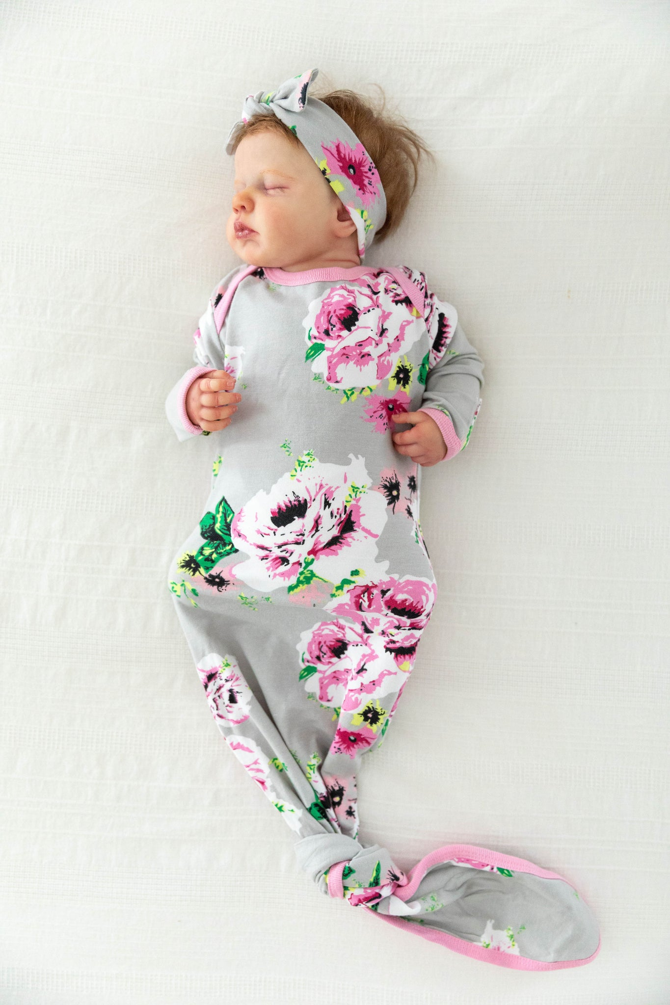 Olivia Knotted Baby Gown & Headband