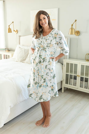 Hadley printed robe with belt tie and 3/4 sleeves for easy IV access. Knee length for coverage. Pack your hospital bag with a Hadley robe for mom.