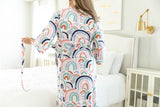 Rainbow Delivery Robe & Navy Blue Swaddle Blanket Set