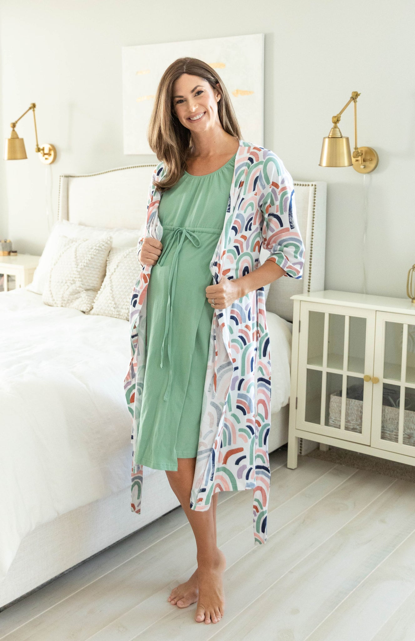 Rainbow Robe & Sage Labor Gown