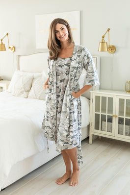 Camo Maternity/Nursing Nightgown & Robe Set