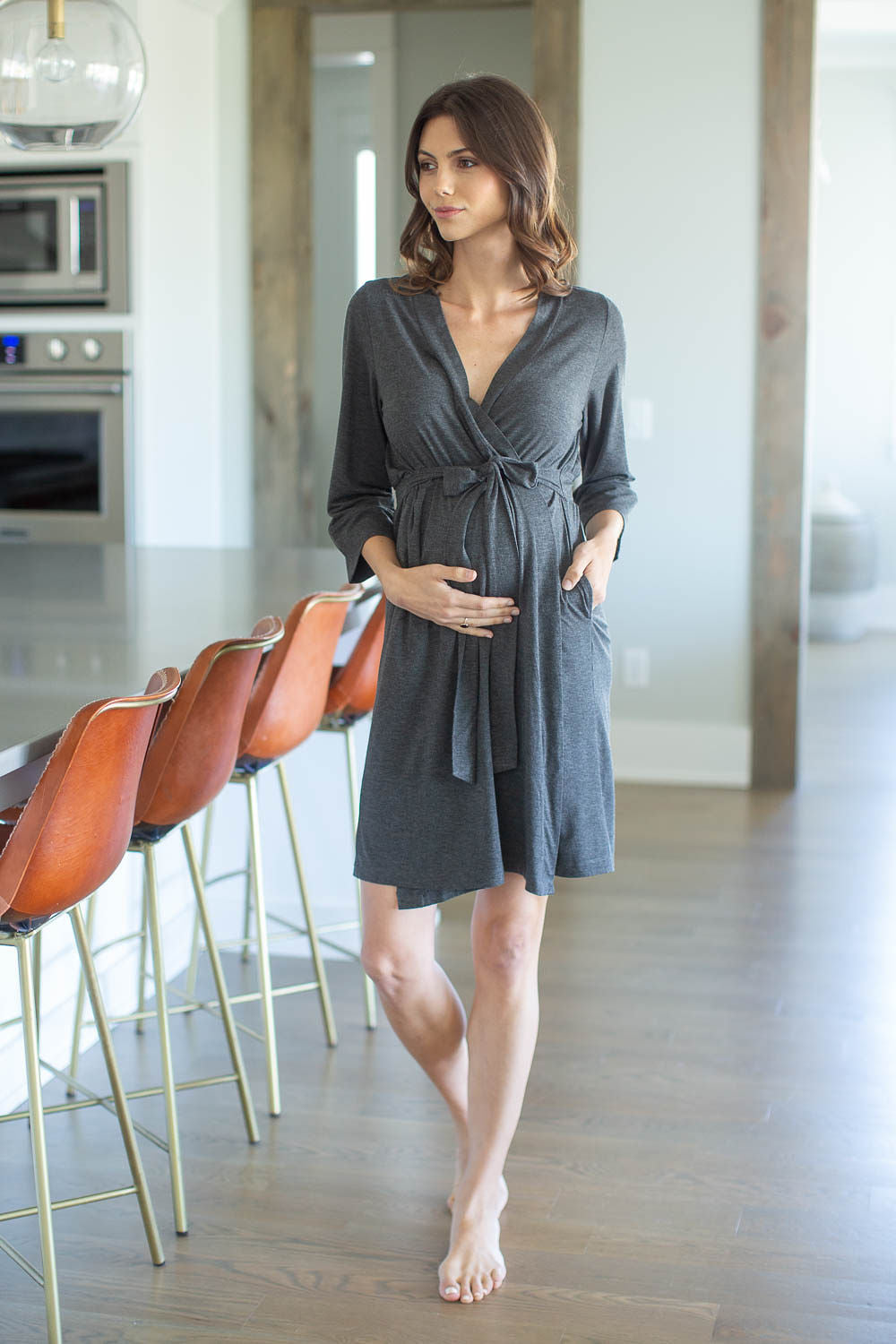 Dark Grey Heather Solid Delivery Robe