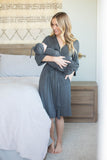 Dark Heather Grey Delivery Robe & Swaddle Blanket Set