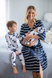 Navy Striped Robe, Dinosaur Swaddle Blanket Set & Dinosaur Pajama Set