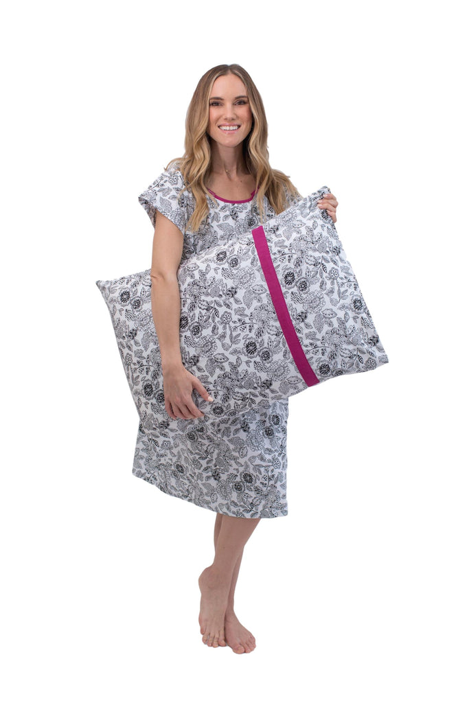 Ella Maternity Labor and Delivery Hospital Gown Gownie & Matching Pillowcase Set